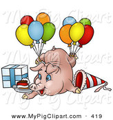 Swine Clipart of a Goofy Birthday Pig with Balloons, a Present and Slice of Cake by Dero