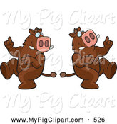Swine Clipart of a Goofy Dancing Boar in Different Poses by Cory Thoman