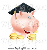 Swine Clipart of a Graduate Piggy Bank with a Cap and Gold Coins by AtStockIllustration