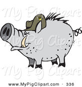 Swine Clipart of a Gray Pig Wearing a Hat and Walking Left by Dennis Holmes Designs
