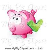 Swine Clipart of a Green Check Mark over a Pink Piggy Bank on White by Beboy