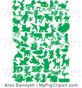 Swine Clipart of a Green Land and Sea Animal Silhouetted in Green by Alex Bannykh