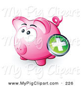 Swine Clipart of a Green Plus Button over a Plump Pink Piggy Bank by Beboy