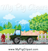 Swine Clipart of a Green Truck Moving Pigs by Graphics RF