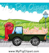 Swine Clipart of a Green Truck Transporting Pigs by Graphics RF