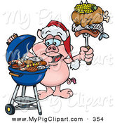 Swine Clipart of a Grilling Pink Pig Wearing a Santa Hat and Holding Food on a BBQ Fork by Dennis Holmes Designs