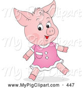 Swine Clipart of a Grinning Cute Female Piglet in a Pink Dress by Alex Bannykh
