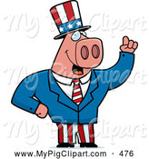 Swine Clipart of a Grinning Patriotic Pig by Cory Thoman