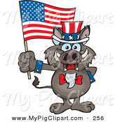 Swine Clipart of a Grinning Patriotic Uncle Sam Boar Waving an American Flag on Independence Day by Dennis Holmes Designs