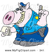 Swine Clipart of a Grinning Pig Officer with Tusks Writing a Ticket by Dennis Holmes Designs