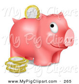 Swine Clipart of a Grinning Pink Piggy Bank Facing Right with Euros Being Inserted Through the Opening by Oligo
