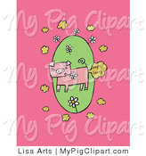 Swine Clipart of a Gross Farting Pig Chewing on a Daisy Flower, over a Green Oval on a Pink Background by Lisa Arts