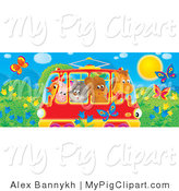 Swine Clipart of a Group of Animals, a Horse, Bear, Cat, Pig and Chicken Crowded into a Rail Car, Passing a Meadow with Butterflies and Flowers by Alex Bannykh