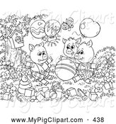 Swine Clipart of a Group of Black and White Three Little Pigs and the Big Bad Wolf Coloring Page Outline by Alex Bannykh