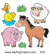 Swine Clipart of a Group of Farm Animals; Duck, Sheep, Horse and Pig by Visekart