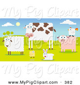 Swine Clipart of a Group of Farm Animals in a Pasture by Qiun