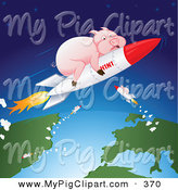 Swine Clipart of a Group of Fat Pink Pigs Shooting Through Space on H1N1 Rockets by Paulo Resende