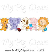 Swine Clipart of a Group of Five School Animals Walking in Line by BNP Design Studio