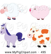 Swine Clipart of a Group of Friendly Cute Barnyard Sheep, Pig, Horse and Cow in Profile by Yayayoyo