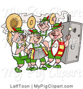 Swine Clipart of a Group of Pig Oktoberfest Band Playing Instruments and Standing by a Smoker by LaffToon