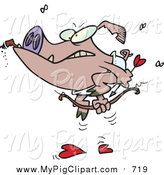 Swine Clipart of a Grumpy Cupid Pig Smoking a Cigar by Toonaday