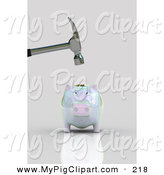 Swine Clipart of a Hammer Above a Nervous Opalescent Piggy Bank on Gray by Stockillustrations