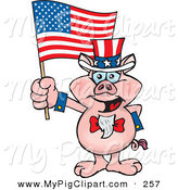Swine Clipart of a Happy and Patriotic Uncle Sam Pig Waving an American Flag on Independence Day by Dennis Holmes Designs