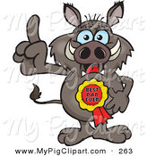 Swine Clipart of a Happy Boar Character Wearing a Best Dad Ever Ribbon by Dennis Holmes Designs