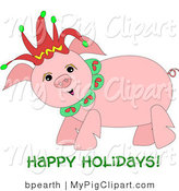"Swine Clipart of a Happy Chubby Pig Wearing a Christmas Jester Hat with ""Happy Holidays"" Text by Bpearth"