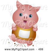 Swine Clipart of a Happy Cute Piglet Running in a Race by BNP Design Studio