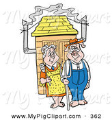 Swine Clipart of a Happy Farmer Pig Couple Standing Outside a Smoker by LaffToon