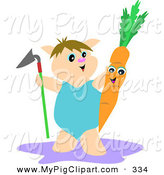 Swine Clipart of a Happy Farmer Pig Holding a Shovel and Carrot by