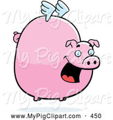 Swine Clipart of a Happy Fat Flying Pig with Little White Wings by Cory Thoman