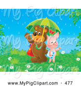 Swine Clipart of a Happy Friendly Pig and Bear Students Sharing an Umbrella on a Rainy Spring Day by Alex Bannykh