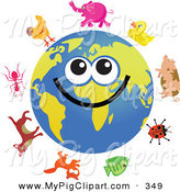 Swine Clipart of a Happy Global Face Character with Animals by Prawny