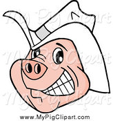 Swine Clipart of a Happy Grinning Pig Wearing a White Cowboy Hat by LaffToon