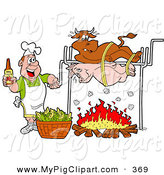 Swine Clipart of a Happy Man Holding a Bottle of Bbq Sauce and Cooking a Cow and Pig over a Fire by LaffToon