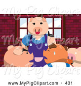 Swine Clipart of a Happy Mother Pig Lecturing Her Children by Mayawizard101