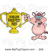 Swine Clipart of a Happy Pig Character Holding a Golden Worlds Greatest Dad Trophy by Dennis Holmes Designs