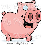 Swine Clipart of a Happy Pig Facing Right by Cory Thoman