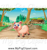 Swine Clipart of a Happy Pig on a Trail by Graphics RF