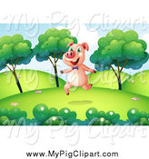 Swine Clipart of a Happy Pig Running in a Hilly Park by Graphics RF
