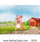 Swine Clipart of a Happy Pig Running in a Pasture near a Barn by Graphics RF