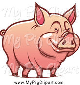 Swine Clipart of a Happy Pig Smiling by Vector Tradition SM