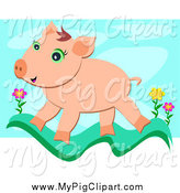 Swine Clipart of a Happy Pig Walking on a Grass Wave with Flowers over Blue by Bpearth