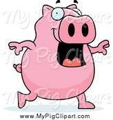 Swine Clipart of a Happy Pig Walking Upright by Cory Thoman