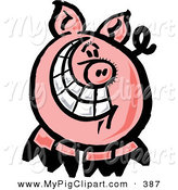 Swine Clipart of a Happy Pig with a Big Toothy Grin by Zooco