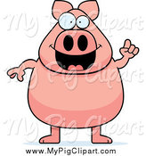 Swine Clipart of a Happy Pig with an Idea by Cory Thoman