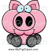 Swine Clipart of a Happy Piglet Sitting by Cory Thoman