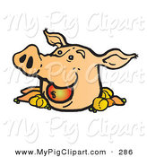 Swine Clipart of a Happy Pigs Head with an Apple and Veggies by Snowy